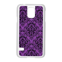 Damask1 Black Marble & Purple Denim Samsung Galaxy S5 Case (white) by trendistuff