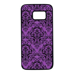Damask1 Black Marble & Purple Denim Samsung Galaxy S7 Black Seamless Case by trendistuff