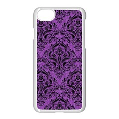 Damask1 Black Marble & Purple Denim Apple Iphone 8 Seamless Case (white) by trendistuff