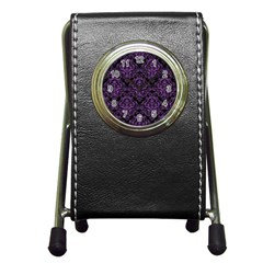 Damask1 Black Marble & Purple Denim (r) Pen Holder Desk Clocks