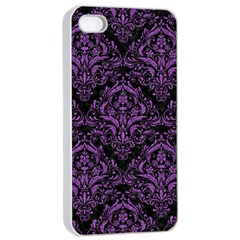 Damask1 Black Marble & Purple Denim (r) Apple Iphone 4/4s Seamless Case (white) by trendistuff