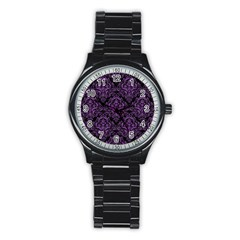 Damask1 Black Marble & Purple Denim (r) Stainless Steel Round Watch by trendistuff