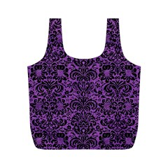 Damask2 Black Marble & Purple Denim Full Print Recycle Bags (m)