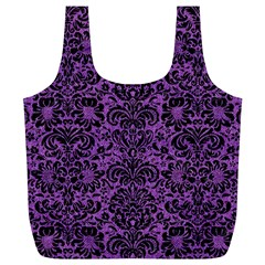 Damask2 Black Marble & Purple Denim Full Print Recycle Bags (l)  by trendistuff
