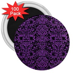 Damask2 Black Marble & Purple Denim (r) 3  Magnets (100 Pack) by trendistuff