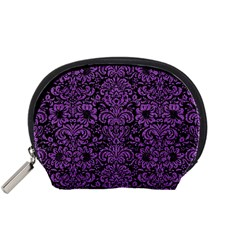 Damask2 Black Marble & Purple Denim (r) Accessory Pouches (small)  by trendistuff