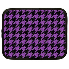 Houndstooth1 Black Marble & Purple Denim Netbook Case (xxl)  by trendistuff