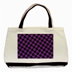 Houndstooth2 Black Marble & Purple Denim Basic Tote Bag (two Sides) by trendistuff