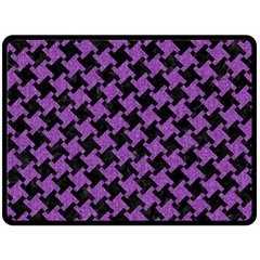 Houndstooth2 Black Marble & Purple Denim Double Sided Fleece Blanket (large)  by trendistuff