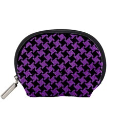 Houndstooth2 Black Marble & Purple Denim Accessory Pouches (small)  by trendistuff