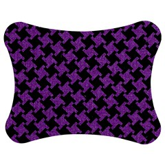 Houndstooth2 Black Marble & Purple Denim Jigsaw Puzzle Photo Stand (bow) by trendistuff