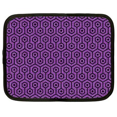 Hexagon1 Black Marble & Purple Denim Netbook Case (large) by trendistuff