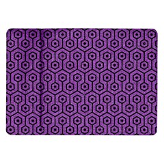 Hexagon1 Black Marble & Purple Denim Samsung Galaxy Tab 10 1  P7500 Flip Case by trendistuff