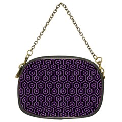 Hexagon1 Black Marble & Purple Denim (r) Chain Purses (one Side)  by trendistuff