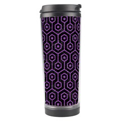 Hexagon1 Black Marble & Purple Denim (r) Travel Tumbler by trendistuff