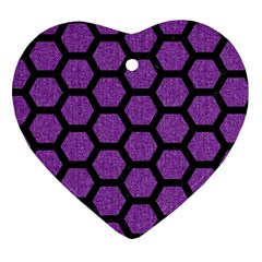 Hexagon2 Black Marble & Purple Denim Heart Ornament (two Sides) by trendistuff