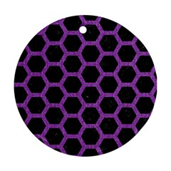Hexagon2 Black Marble & Purple Denim (r) Round Ornament (two Sides) by trendistuff