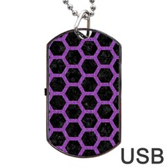 Hexagon2 Black Marble & Purple Denim (r) Dog Tag Usb Flash (one Side) by trendistuff