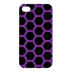 Hexagon2 Black Marble & Purple Denim (r) Apple Iphone 4/4s Hardshell Case