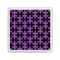 Puzzle1 Black Marble & Purple Denim Memory Card Reader (square)  by trendistuff