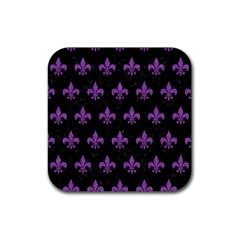 Royal1 Black Marble & Purple Denim Rubber Square Coaster (4 Pack)  by trendistuff