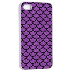 Scales1 Black Marble & Purple Denim Apple Iphone 4/4s Seamless Case (white) by trendistuff