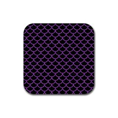 Scales1 Black Marble & Purple Denim (r) Rubber Square Coaster (4 Pack)  by trendistuff