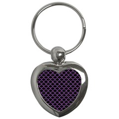 Scales1 Black Marble & Purple Denim (r) Key Chains (heart)  by trendistuff