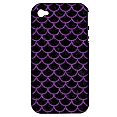 Scales1 Black Marble & Purple Denim (r) Apple Iphone 4/4s Hardshell Case (pc+silicone) by trendistuff