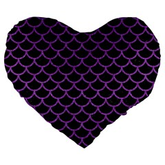 Scales1 Black Marble & Purple Denim (r) Large 19  Premium Flano Heart Shape Cushions
