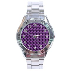 Scales3 Black Marble & Purple Denim Stainless Steel Analogue Watch by trendistuff