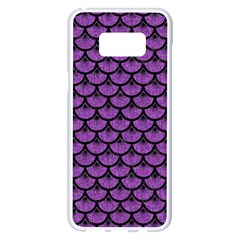 Scales3 Black Marble & Purple Denim Samsung Galaxy S8 Plus White Seamless Case by trendistuff