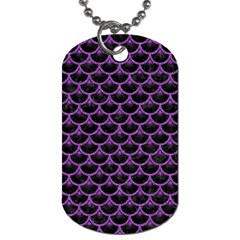 Scales3 Black Marble & Purple Denim (r) Dog Tag (one Side) by trendistuff