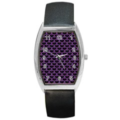 Scales3 Black Marble & Purple Denim (r) Barrel Style Metal Watch by trendistuff