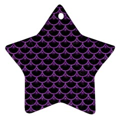 Scales3 Black Marble & Purple Denim (r) Star Ornament (two Sides) by trendistuff