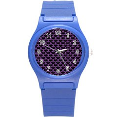 Scales3 Black Marble & Purple Denim (r) Round Plastic Sport Watch (s) by trendistuff