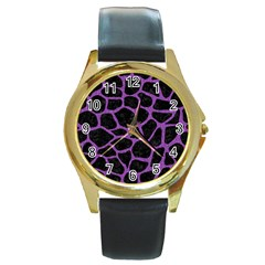 Skin1 Black Marble & Purple Denim Round Gold Metal Watch by trendistuff
