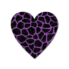 Skin1 Black Marble & Purple Denim Heart Magnet by trendistuff