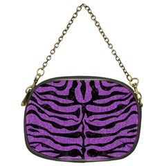 Skin2 Black Marble & Purple Denim Chain Purses (two Sides)  by trendistuff