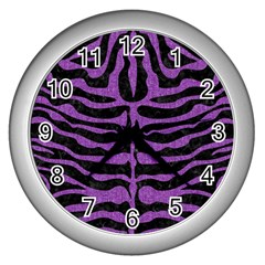 Skin2 Black Marble & Purple Denim (r) Wall Clocks (silver)  by trendistuff