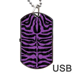 Skin2 Black Marble & Purple Denim (r) Dog Tag Usb Flash (two Sides) by trendistuff