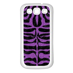 Skin2 Black Marble & Purple Denim (r) Samsung Galaxy S3 Back Case (white) by trendistuff
