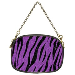 Skin3 Black Marble & Purple Denim Chain Purses (two Sides)  by trendistuff