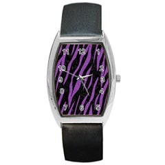 Skin3 Black Marble & Purple Denim (r) Barrel Style Metal Watch by trendistuff
