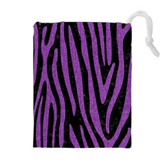 Skin4 Black Marble & Purple Denim Drawstring Pouches (extra Large) by trendistuff