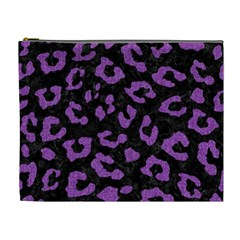 Skin5 Black Marble & Purple Denim Cosmetic Bag (xl) by trendistuff