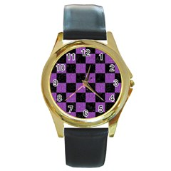 Square1 Black Marble & Purple Denim Round Gold Metal Watch by trendistuff