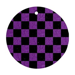 Square1 Black Marble & Purple Denim Round Ornament (two Sides) by trendistuff