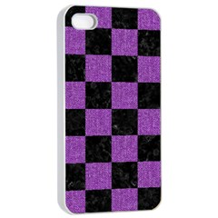 Square1 Black Marble & Purple Denim Apple Iphone 4/4s Seamless Case (white) by trendistuff