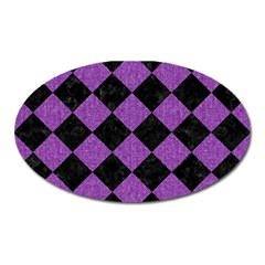 Square2 Black Marble & Purple Denim Oval Magnet by trendistuff